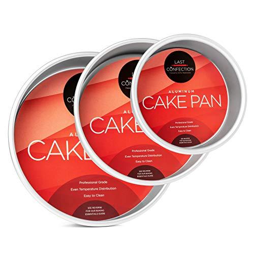 Last Confection 3-Piece Round Cake Pan Set - Includes 6, 8 and 10 Aluminum Pans 2 Deep
