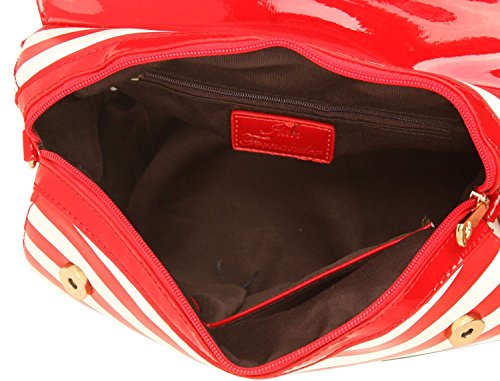 Ilan Fernandez Damen Shoulder Bag Rot-Weiß 6147-RED