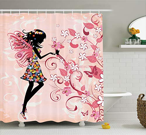 Ambesonne Girls Shower Curtain Fairy Decor, Pink Butterflies and Flowers Beautiful Glamour Girl with Colorful Floral Dress Angel Wings FAE Queen Feminine Nursery Bathroom, Pink Black