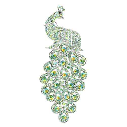EVER FAITH Austrian Crystal Elegant New 5 Inch Peacock Bird Brooch Pendant Green Silver-Tone