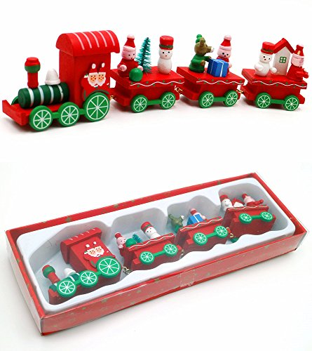 Wooden Christmas Yard Art - Efivs Arts Christmas Wooden Train Lighted Motion Train Set Christmas Yard Art Festive Holiday DIY Gift Decor, Red