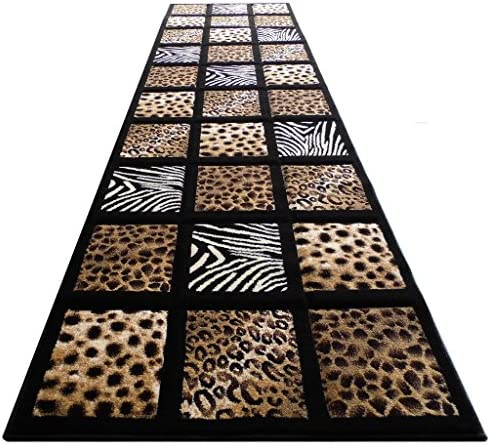 Sculpture Modern Runner Area Rug Animal Prints Design SC 251 Black 32 Inch X 10 Feet