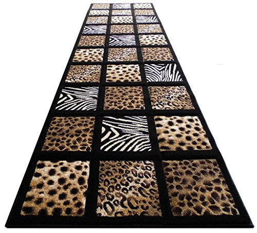 Jungle Animal Print (Sculpture Animal Prints Rug Runner 32 In. X 7 Ft 251 Black)