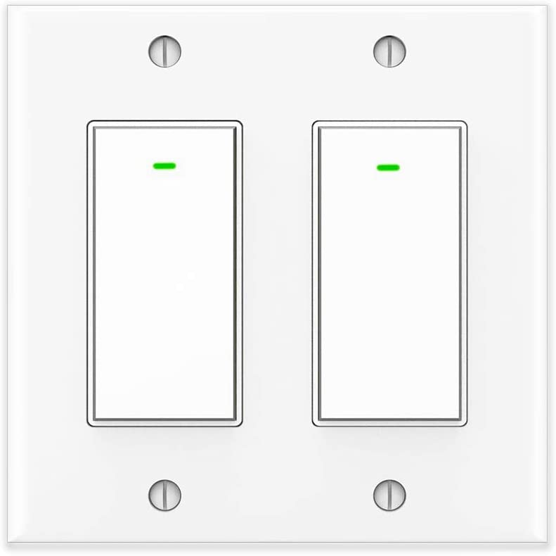 Kkcool Smart Switch, Smart Light Switch Work with Google Home and IFTTT, Voice Remote Control,2.4Ghz Wi-Fi Smart Light Switch, No Hub Required, Single-Pole, Neutral Wire Required, 2 Gang