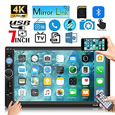 Leadfan Double Din Car Stereo Touch Screen with Bluetooth FM Radio MP5/4/3 Player Car Audio Receiver Car Audio Android iPhone Mirror Link USB/SD/AUX Hands Free Calling: Automotive