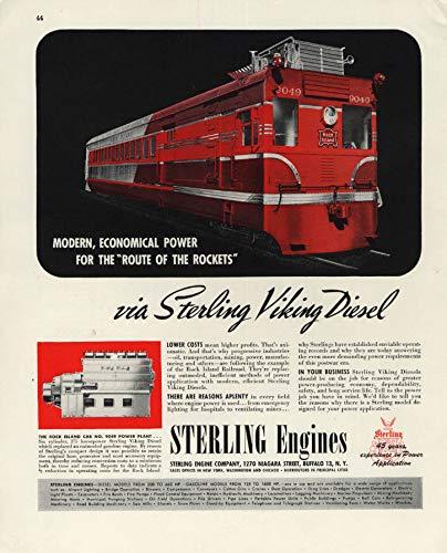 Rock Island Railroad Doodlebug #9049 Sterling Diesel Engines ad 1946 F