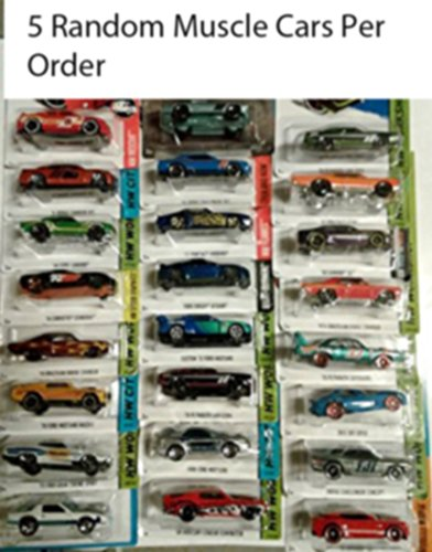 "Hot Wheels Muscle Car Madness 5 Pack Random Diecast Bundle Set! Corvettes, Mustangs, Camaros, Chargers, GTO""s, Firebirds, Shelby, etc. (Treasure Hunts at random) Collectible Cars"