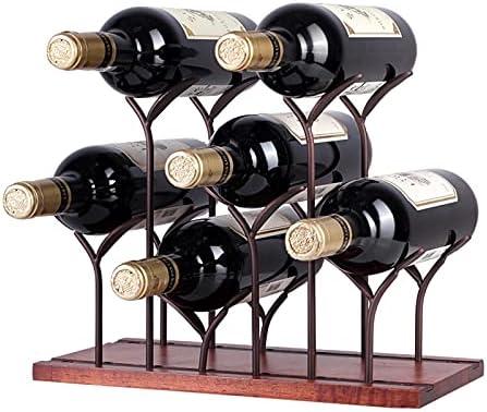 Botellero para Encimera, Soporte para Botellas De Madera para Mesa, Capacidad para 6 Botellas, Decoración del Hogar Y Estante De Almacenamiento En La Cocina (Bronce)