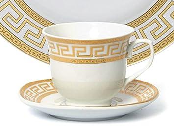 Euro Porcelain 20-pc Dinnerware Set w Gold Greek Key Pattern 24K Ornament, HQ Dining Service for 4