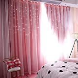 Mumustar 1 Panel Double-Deck Starry Crystal Blackout Voile Curtains Pencil Pleat 40'' Width X 78'' Drop For Bedroom Living Room Long Tulle Window Curtain Panel Sheer Drapes Shaded Window (Pink)