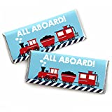 Railroad Party Crossing - Candy Bar Wrapper Steam Train Birthday Party or Baby Shower Favors - Set of 24