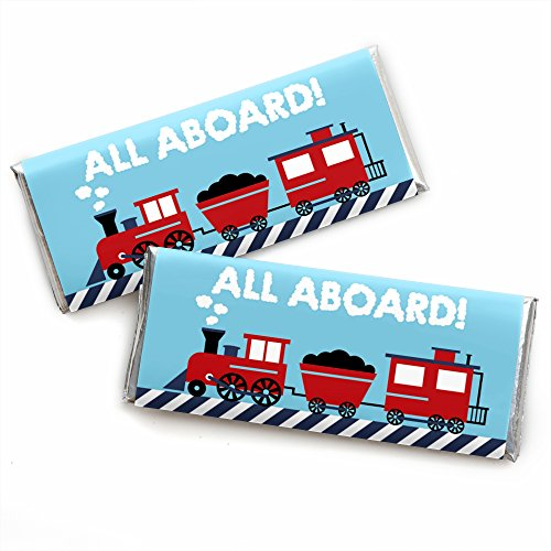 (Railroad Party Crossing - Candy Bar Wrapper Steam Train Birthday Party or Baby Shower Favors - Set of 24)
