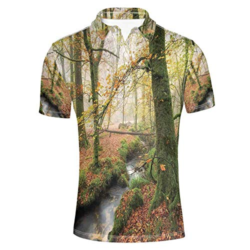 Woodland Decor Stylish Polo Shirt,Misty Autumn Woodland and Stream at Golitha Falls on Bodmin Moor in Cornwall Decorative for Men,XXL