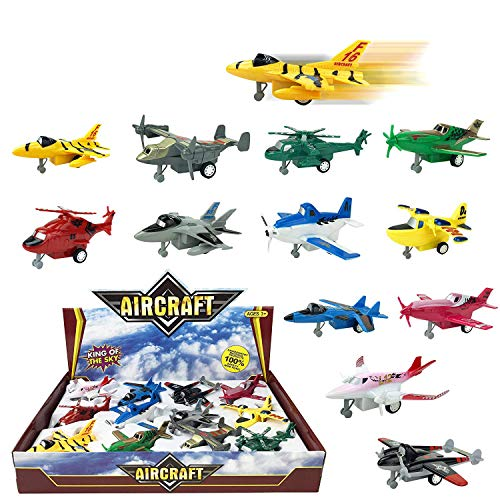 Liberty Imports Set of 12 Pull Back Airplanes Vehicle Playset - Variety Pack of Helicopters, Stealth Bombers, Fighter Jets, Aircraft, Planes and ()