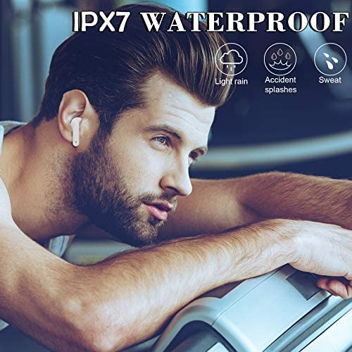 Wireless Earbuds,Bluetooth 5.2 Earphones Built-in Mic IPX7 Waterproof [with 24 Hrs LED Display Charging case/USB-C Quick Chage] Auto Pairing Noise Reduction for Airpods/Android/iPhone/Samsung