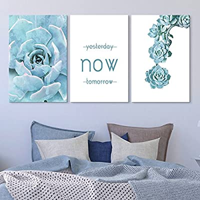 3 Panel Blue Succulent Plant with Inspirational Quotes...16