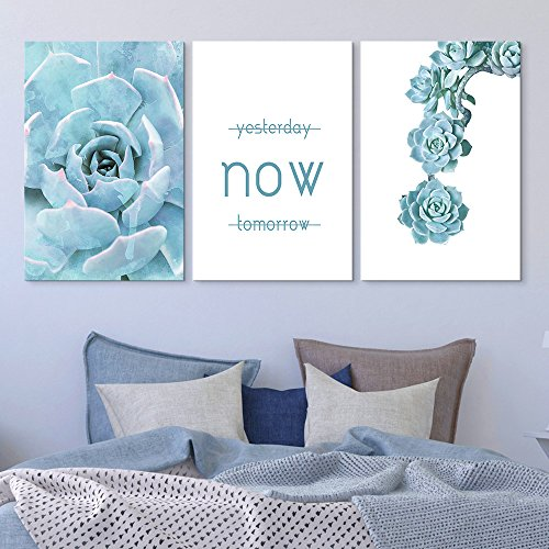 3 Panel Blue Succulent Plant with Inspirational Quotes x 3 Panels