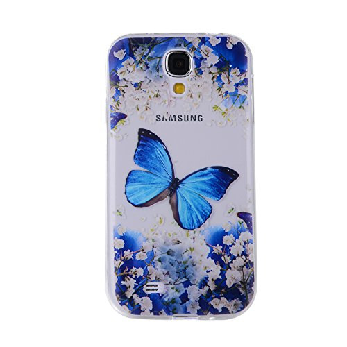 IKASEFU Pretty Butterfly Flower Design Slim Fit Soft Gel Clear Transparent Bumper TPU Rubber Case Cover Compatible with Samsung Galaxy S4-Butterfly Flower (Rubber Butterfly Flower)