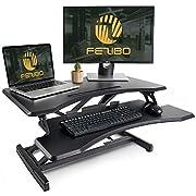 """#LightningDeal 78% claimed: Standing Desk with Height Adjustable – FEZIBO Stand Up Black Desk Converter, 33"""" Black Ergonomic Desktop Workstation Riser fits Dual Monitors"""