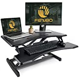 Standing Desk with Height Adjustable – FEZIBO Stand Up Black Desk Converter, 32