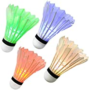 Ohuhu LED Badminton Shuttlecock Dark Night Glow Birdies Lighting for Outdoor & Indoor Sports Activities, 4