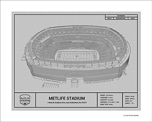 New York Jets MetLife Stadium Blueprint Art Gift