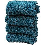 4 Teal Blue Green Crochet Round Dishcloth Set Long Lasting 100% Cotton