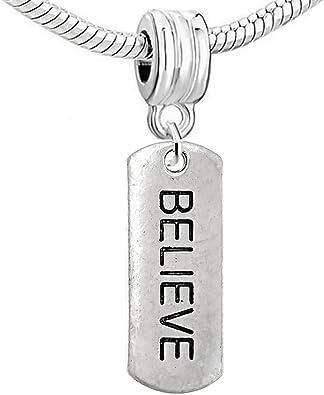 Silver Faith Dangle Charm Bead for European Style Bracelet Or Clip On Charm