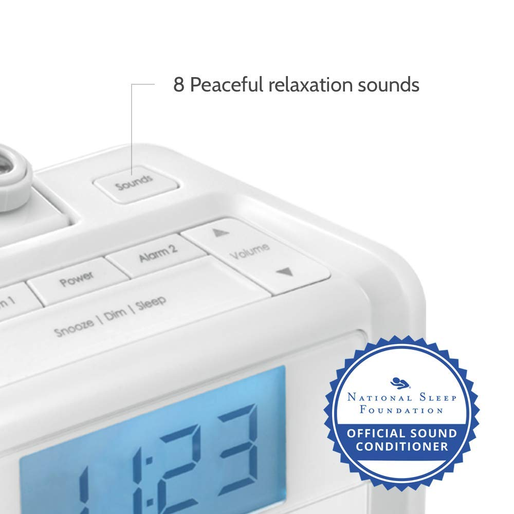 Dual Alarm Digital Fm Clock Radio Time Projection 8 White Lf Noise Generator Electronics Project Relaxing Nature Sounds Led Display Multi Snooze Sleep Timer Nightlight