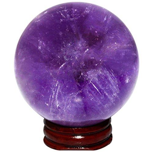 SUNYIK Natural Deep Purple Amethyst Sphere, Gemstone Ball Crystal Quartz Sculpture Figurine(2.3''-2.5'') by SUNYIK