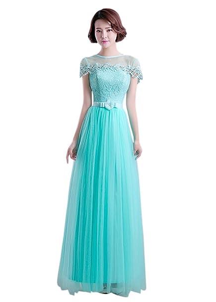 Drasawee mujeres de manga corta para Empire Encaje Prom Party vestido de dama dulce flores Maxi