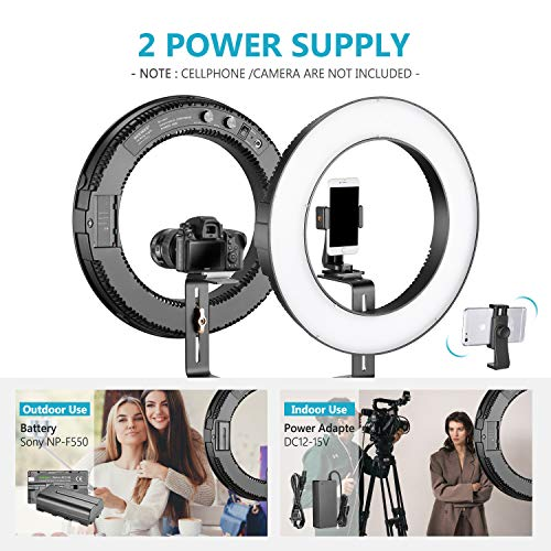 Neewer 14-inch Outer Dimmable Bi-Color SMD LED Ring Light Lighting Kit for Smartphone Video Shooting with (1) Light Stand,(1) Ball Head,(1) Phone Holder,(2) Li-ion Battery,(1) Charger