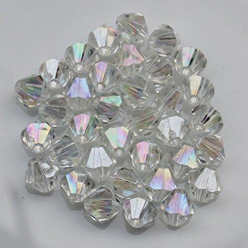 Bi-cone Beads Acrylic Plastic 4mm X 6mm Clear AB, 300 (Acrylic 6 Mm Bicone)