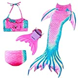 Osmanluer 4PCS Girls Mermaid Tail for Swimming Cosplay Kids Swimmable Mermaid Tail Swimsuit (Color 5, 140)