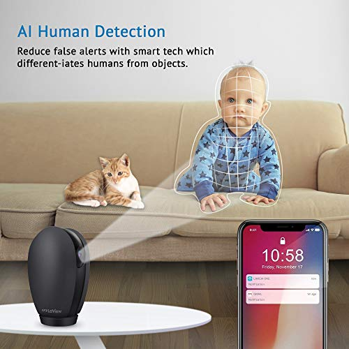 LaView Security Cameras for Home + 2X 32GB SD Cards,PT Home Security Camera System with Motion Detection,Two-Way Audio,Night Vision,Indoor WiFi Camera for Baby/pet,Alexa,USA Cloud Service