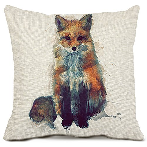 20 Animal (Fox Throw Pillow Cover Decorative Cotton Linen Cushion Cases Square Animal Pillow Covers for Sofa Bedding Home Decor 20x20 Inch)