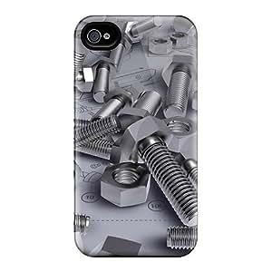 Premium Durable Screws On Blueprint Fashion Tpu Iphone 4/4s Protective Case Cover