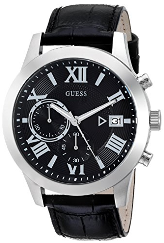 GUESS Men's Stainless Steel Chronograph Leather Casual Watch, Color: Silver-Tone/Black (Model: U0669G5)
