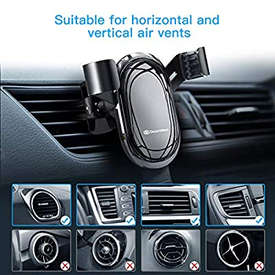 DesertWest Car Mount for Cell Phone, Universal Clamping Gravity Smartphones Holder for Car Air Vent, Easy to Install and Securely Holds iPhone XR XS 11 pro max Samsung Note 10+ S20 S10+ S9 S8, Google