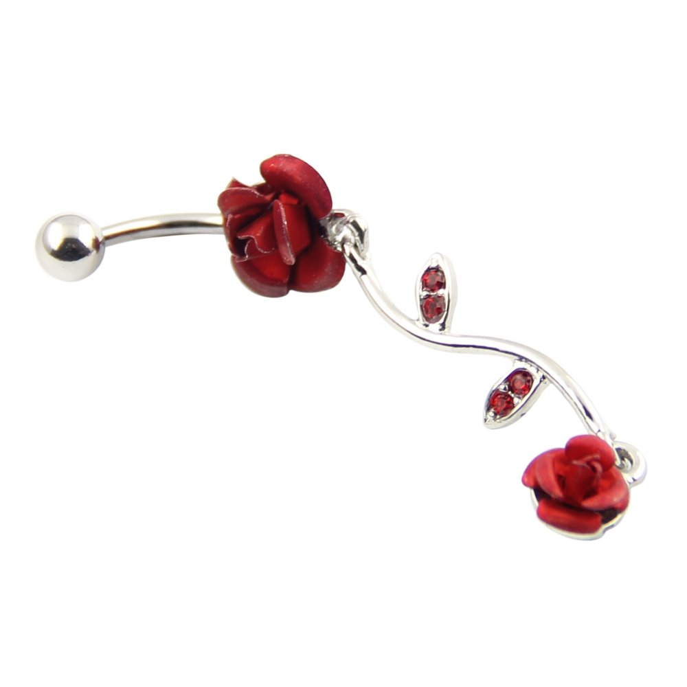 BODYA 316l Surgical Steel 14g Red Crystal Fancy Rose Double Dangle Navel Belly Ring Barbell 7/16 JW211