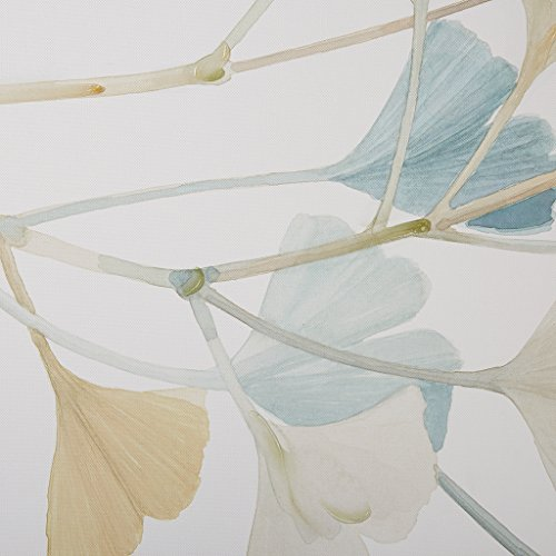 Madison Park Spring Ginkgo Leaves Landscape Blue White Canvas Wall Art 36X24, Transitional Wood Print Hand Embellished Wall Décor