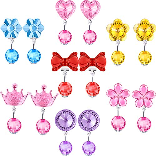 Hicarer 7 Pairs Crystal Clip on Earrings Girls Princess Jewelry Earring and 7 Pairs Earrings Pads in Pink Box (Style 3)