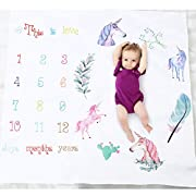 Baby Monthly Milestone Blanket, Oenbopo Newborn Infant Photo Prop Shoots Backdrop Kids Swaddling Wrap Baby Shower Gift with Month Numbers for Photography Background (Unicorn)
