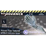 Diamond Gloves Black Advance Nitrile Examination Powder-Free Gloves, Heavy Duty, Large, 100 Count
