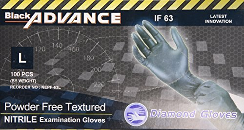 Diamond Gloves Black Advance Nitrile Examination Powder-Free Gloves, Heavy Duty, Large, 100 Count from Diamond Gloves