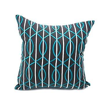 Amazon.com: Olas Líneas almohada, decorativo tirar funda de ...