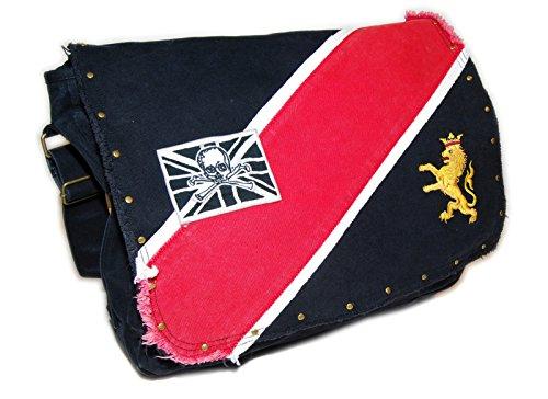 Red Skull Messenger Bag (Ralph Lauren Rugby Vintage Canvas Skull Crossbones Messenger Tote Bag Black Red)