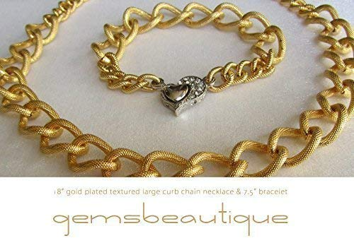 - GemsBeautique Large Bold Textured Curb Chain Chunky 7.5