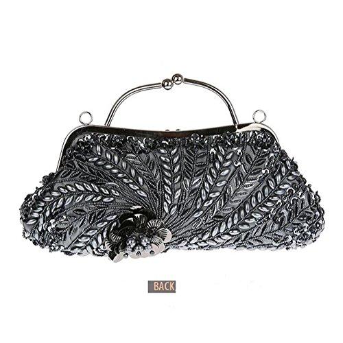 Handbag Long Beaded with Clutch Womens Chain 100 Pulama Gray Handmade Bridal Bag Wedding UgqaqHWc