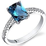 14K White Gold London Blue Topaz Ring Radiant Cut 1.75 Carats Size 5